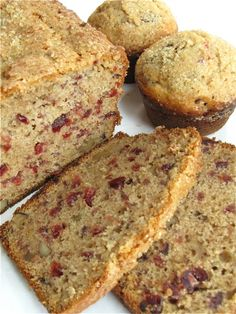 Cranberry Walnut Bread & Muffins From: King Arthur Flour, please visit Cranberry Nut Bread, Cranberry Recipes, Cranberry Cake, Sweet Recipes, Cake Recipes, Dessert Recipes, Desserts, Breakfast Recipes, Loaf Recipes