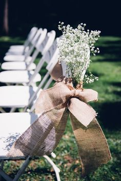 Baby's breath + burlap ribbon rustic wedding ceremony aisle markers {Bryan Sargent Photography}