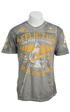 Affliction Men's Grey Night Strike Short Sleeve Tee