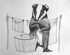 Just a badger doing laundry, 2015 ink on paper