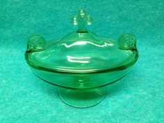 fostoria green glass bowl | Fostoria Glass Sakier George Scroll Candy Dish With Lid #2395 Green