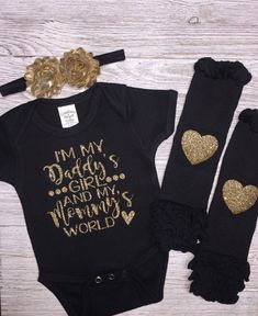 Im My Daddy Girl and My Mommys World Bodysuit. Made with a commercial grade heat press and excellent quality glitter will last permanently without flaking. ★ ★ Bodysuit Sizing Chart★ ★ >>>Newborn up to 7 pounds >>>0-3 months 7-12 pounds >>>3-6 months 12-17 pounds >>>6-12 months