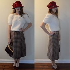 A personal favorite from my Etsy shop https://www.etsy.com/ca/listing/261950484/vintage-houndstooth-pleated-skirt-celine