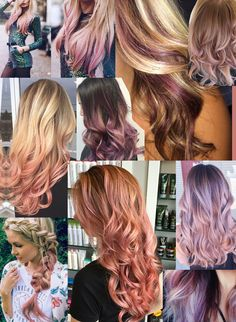 Gold rose / dusty lavender ombre hair ideas