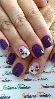 Nail art designs with awesome colors 2018 - Reny styles Nail Art Diy, Diy Nails, Diy Art, Nail Art Designs, Nails Design, Purple Nails, Purple Art, Purple Rose, Purple Flowers
