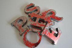 Metal Letters– Garage Door Sign – 3D Industrial Letter Name Plaque – Vintage Retro Style Metal Letters– Typeface Characters – Metal Numbers