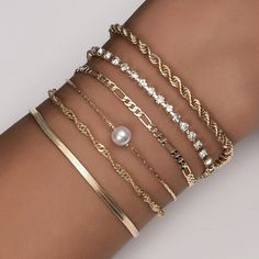 Sparkling 14KT Gold Plated Bracelet Set, Rope Bracelet, Tennis Bracelet, Figaro Bracelet, Pearl Bracelet,Twisted Bracelet, Herringbone Chain