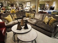 This sectional has a beautiful transitional style, with a cross between a slate and slight tobacco hue, in a velvety soft finish. The track arm gives an easily transitional style for either a contemporary or traditional home, offering superior comfort and scale. This line is fresh, current, and easy to modify with accent pillows.