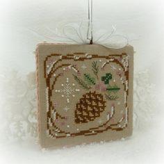Hand Stitched Winter Pine Cone Ornament..