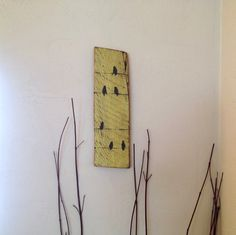 Birds on a Wire~ Rustic Reclaimed Barnwood Yellow Decor- Custom Upcycled Wood sign- Shabby chic Decor, Black Birds on Yellow board- Wall Art on Etsy, $20.00