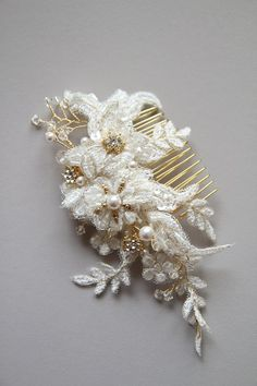 EVIE Ivory lace hair comb gold lace headpiece by percyhandmade, $135.00