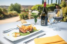 8 oz. filet prepared exclusively to 130 degrees F, French beans, creamed mash potato, finished with Bearnaise and au jus. Temecula Valley Wine Country eats at The Restaurant at Leoness Cellars.