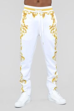 The Royal Track Pants – White - Wiltones Dope Outfits For Guys, Swag Outfits Men, Versace T Shirt, Versace Men, Mens Fashion Wear, Dope Fashion, White Fashion, Polo Shirt Outfits, Track Pants Mens
