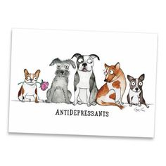 My mini art prints offer beautiful reproductions of my original pen & ink/watercolor drawings. Size: x Printed on premium bright-white recycled paper. Printed on both sides. Comes packaged in an archival sleeve with sturdy chipboard backing Animals And Pets, Funny Animals, Cute Animals, Funny Animal Pictures, Cute Pictures, I Love Dogs, Puppy Love, Dog Years, Cartoon Dog