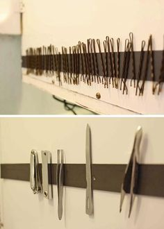Use a magnetic strip on the inside of a medicine cabinet door or in a drawer to keep your hair pins, hair clips, nail file, tweezers & other metal objects in one organised spot.