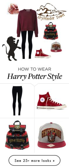 """Gryffindor?"" by funnyschatzi on Polyvore featuring moda, NIKE i Converse"