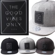 GOOD VIBE Hat for Men Simple Cap Gray Flat Brim Snapback Adjustable Hip Hop Swag #Galadesign7 #BaseballCap