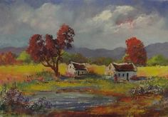 Buy DAM COTTAGES: (oil on stretched canvas: 450mm x 300mm x 20mm)for R800.00