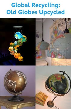 DIY Global Recycling: Old Globes Upcycled!ahhh i want a globe chandelier. Globe Crafts, Map Crafts, Diy And Crafts, Travel Crafts, Old Globe, Globe Art, Look Retro, Upcycled Home Decor, Upcycled Crafts