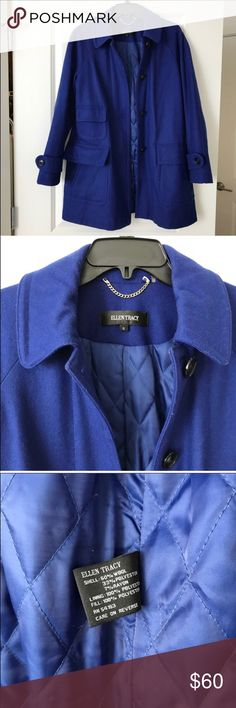 Ellen Tracy CobaltBlue Coat. EUC.Small 💯Authentic Worn thrice for a weekend in Massachusetts and Vermont. EUC. Make an offer or Bundle to save! Pet and smoke-free home!  PS: Ladies, be considerate with your ratings, I try to keep my prices low and accept all your offers reason why I try not to spend on wraps and extra packagings. I make sure that the products described are exactly what you' gonna get ❤️ Ellen Tracy Jackets & Coats Pea Coats