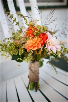 bouquet - I LOVE this--- bouquet inspiration. Loving the rustic look, the orange colors, and the types of greenery used. Are those dahlias? I love those also.