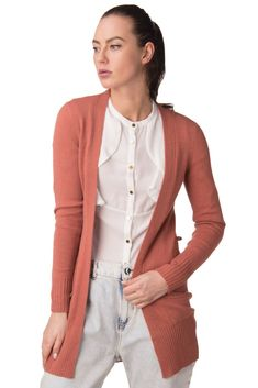 Light gray Cashmere Duster Cardigan sweater women MADE IN ITALY