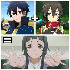 kirito x sinon | Tumblr look at them, yui would be their daughter.. kirito's hair and sinon's eyes <3