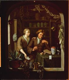 """""""The Apothecary"""" by Frans Van Mieris (1689–1763) (II), (1714), from The Rijksmuseum"""