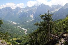 Looking back towards the Valbona River from the mountainside. Image by Tom Masters / Lonely Planet Travel Deals, Travel Tips, Visit Albania, Lonely Planet, Alps, Trekking, Backpacking, Planets, Tourism