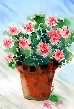 Simple but so pretty pink and red #geraniums done in a fresh watercolor painting