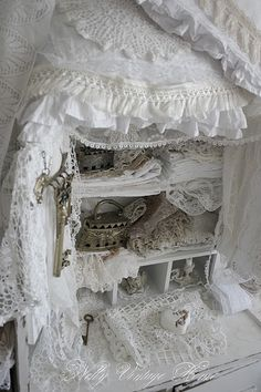 vintage white linens and lace