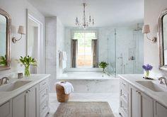 Pale Gray Bathroom. Bathroom. Traditional Bathroom. White and gray bathroom. #Bathroom Ryan Street & Associates
