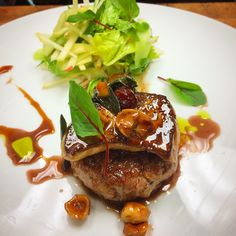 Seared foie gras with apple-celery salad, hazelnuts, pickled huckleberries by Chef Bruce Kalman at Union in L.A.