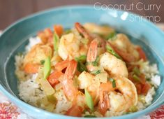 Coconut Curry Shrimp with Coconut Cilantro Rice.  A simple and delicious week-night meal!