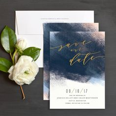 Modern Brushstroke Save The Date Cards in navy and blush | Elli