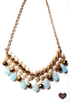 colar#pérolas#azul#dourado #necklace