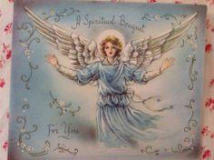 ~+~ Vintage 1940s UNUSED Catholic Spiritual Bouquet Card with Embossed Angel ~+~