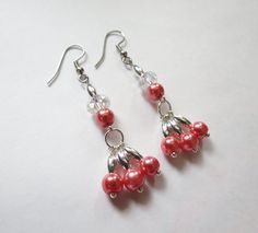 Pink Pearl, Swarovsky Crystal and Silver plated Dangle earrings by GypsyDreamerCafe, $12.50