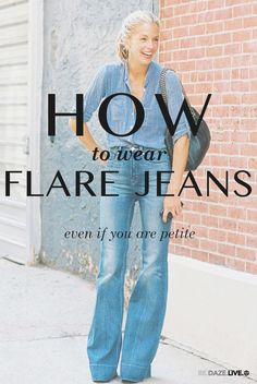 Flare Jeans Outfit Ideas - Spring / Summer - street chic style - washed high waist flare jeans + chambray shirt + black handbag