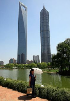 The Shanghai World Financial Centre (left) and the Jin Mao Tower (right) are currently the world's third and ninth tallest buildings repectively. The former is 492 metres (1,614 feet) high and has 101 storeys