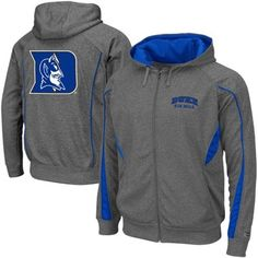Duke Blue Devils Renegade Full Zip Hoodie Sweatshirt - Charcoal Duke Apparel, Duke Blue Devils, Duke University, Wisconsin Badgers, Full Zip Hoodie, Hoodies, Sweatshirts, Hooded Jacket, Charcoal