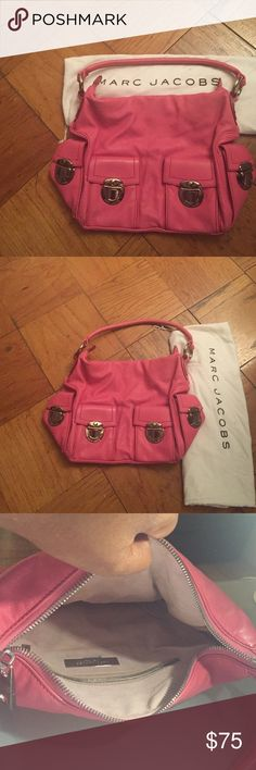 Marc Jacobs bag Pink Marc Jacobs leather handbag. Excellent condition! Spacious with 4 top flap opening with exterior slip pockets. Interior zip pocket on back wall. Silver hardware. Marc Jacobs bag included. This bag has style, space and a signature look. Marc Jacobs Bags Shoulder Bags