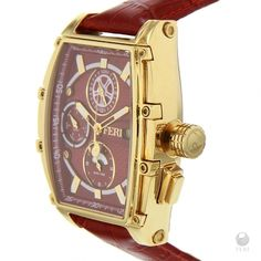 - Red rectangular design dial  - Swiss made movement  - Gold toned metal rectangular case  - 3 piece Solid Stainless Steel Case  - 10 ATM of water resistance  - Date Function and 3 movements  - Genuine leather band with metal clasp  - Sapphire crystal glass face  - 3 year limited manufacturer warranty      Face: 49mm x 57mm (Including case and crown)  Band width: 21mm  Clasp: 26mm x 18mm | Shop this product here: http://spreesy.com/thesecretlife/12 | Shop all of our products at…