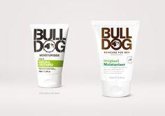 Bulldog mens skincare packaging designed by B&B studio
