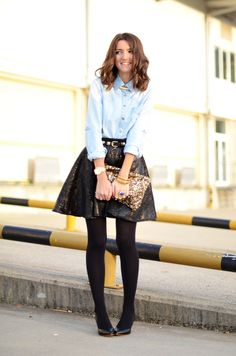 Structured Skirt and Chambray Shirt.