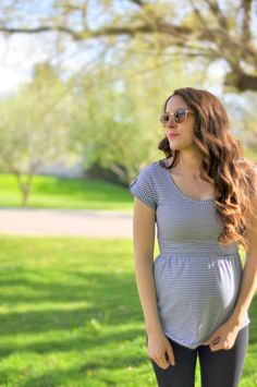 Maternity top with elastic waistband tutorial | DIY maternity