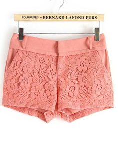 Pink Mid Waist Lace Embroidery Shorts