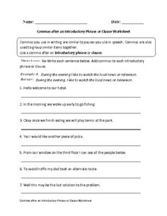 Worksheet Clauses And Phrases Worksheets worksheets complex sentences and on pinterest commas after introductory phrase or clause worksheet