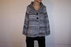 STYLE & CO Sweater Cardigan Sz PL Black Gray Metallic Soft Button Front Womens #Styleco #Cardigan #anytime
