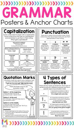 Best 12 My grade students always struggled with our grammar lessons. These grammar anchor charts totally helped them remember important grammar rules. The student friendly charts fit perfectly in their interactive notebooks so they could refer back to Basic Grammar, Teaching English Grammar, English Grammar Worksheets, English Writing Skills, Grammar Lessons, English Language Learning, English Lessons, English Vocabulary, French Language